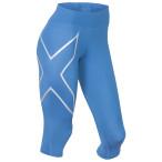 2xu mid rise compr 3 4 tights w pacif blue silver logo